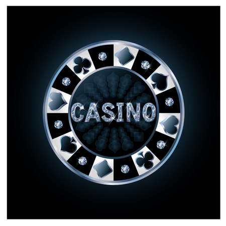 poker chip: Diamond chip de p�quer del casino, ilustraci�n vectorial