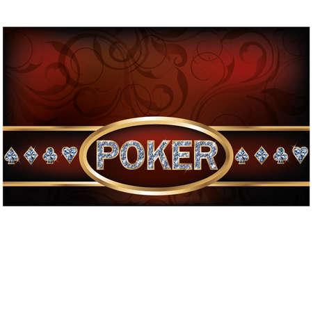gemstone jewelry: Poker invitation card, vector illustration