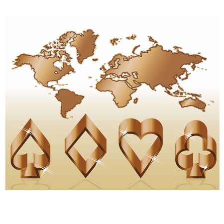 joker card: Poker symbols and map, vector illustration