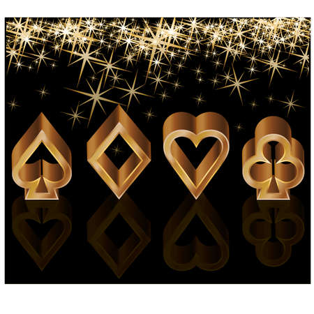 Golden casino card with poker elements Vector