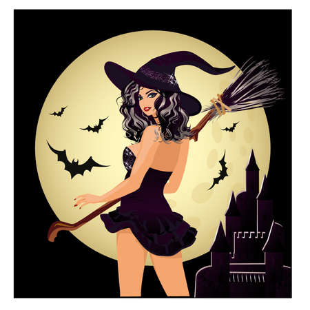 Happy Halloween Sexy witch and moon illustration Vettoriali