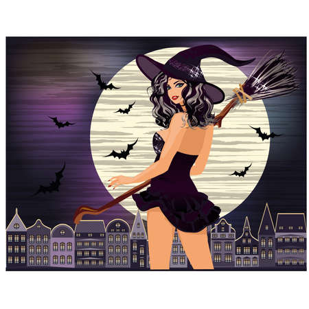 Happy Halloween. Sexy young witch with and night city, vector illustration Vector