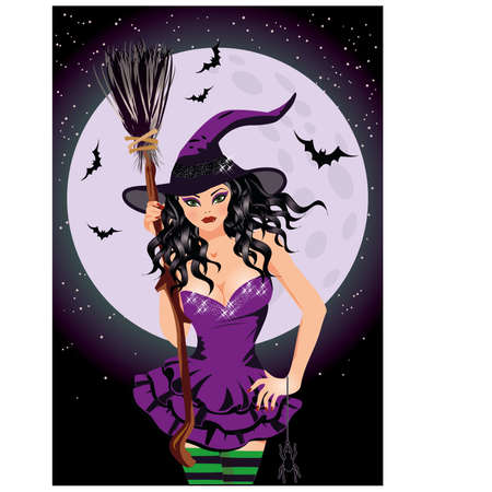 provocative: Happy Halloween. Sexy night witch with broomstick, vector  Happy Halloween. Sexy night witch with broomstick, vector