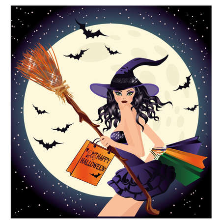 Halloween sale. Sexy witch and shopping bags, vector illustration Illustration