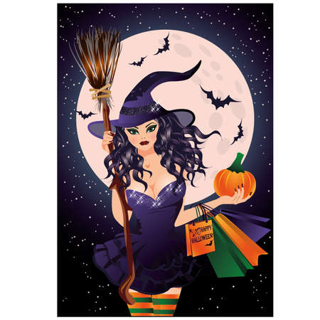 provocative: Halloween sale. Sexual witch and pumpkin shopping bags, vector illustration Illustration
