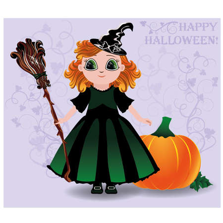 pretty little girl: Happy Halloween. Cute little witch and pumpkin background, vector illustration