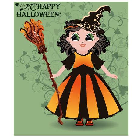 fairy tail: Happy Halloween. Little girl witch postcard illustration Illustration