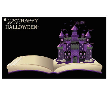 magic book: Happy Halloween. open book with old castle, vector