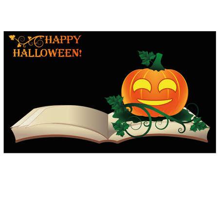 Happy Halloween. Open old book with pumpkin, vector illustration Vector