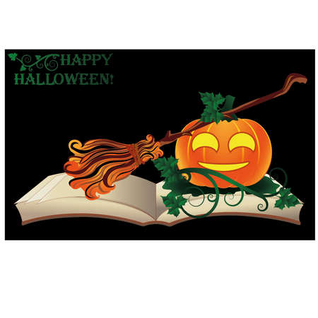 Happy Halloween. Witch old book with pumpkin, vector illustration Vector