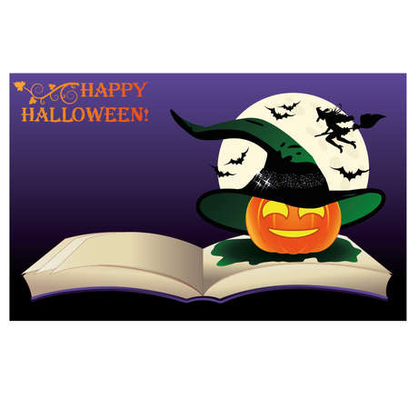 Happy Halloween. Witch old book and moon, vector illustration Vector