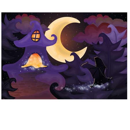 Halloween night wallpaper with haunted house, vector illustration Vector