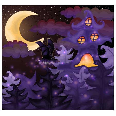 Halloween night wallpaper, vector illustration Vector