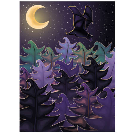 night background: Night background with forest bat, vector illustration