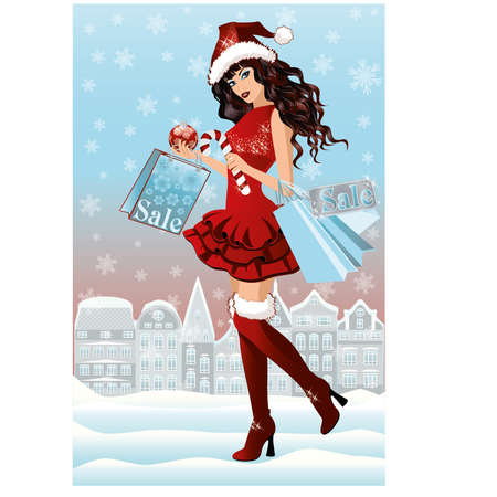 santa girl: Santa girl with shopping bags in city, vector illustration