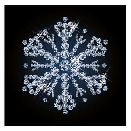 Beautiful diamond snowflake, vector illustration Vector