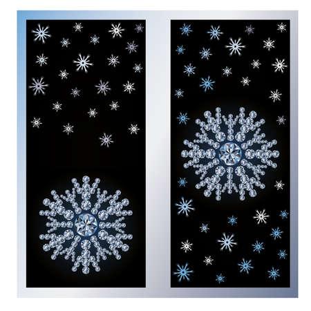 Diamond snow banners, vector illustration Vector