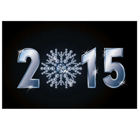 Happy 2015 new year card with diamond snowflake, vector illustration Vector