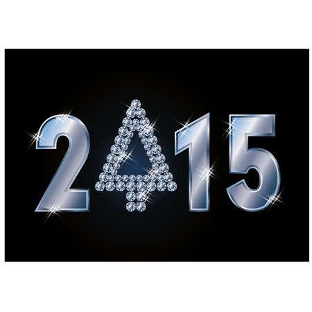 xmas tree: Happy 2015 new year card with diamond xmas tree, vector illustration