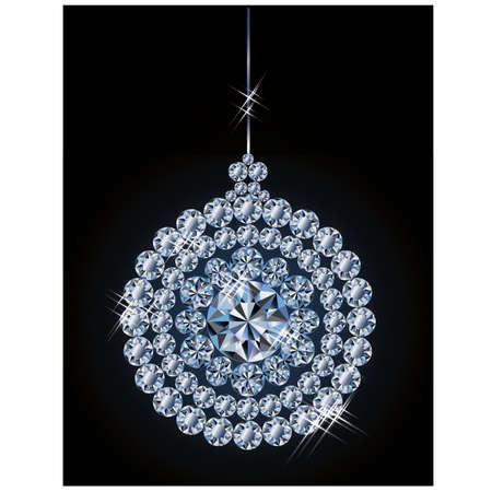 Diamond xmas ball, illustration Vector