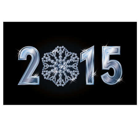 Happy 2015 new year card with brilliant  snowflake, vector illustration Vector