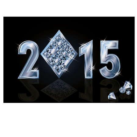 Happy 2015 New year diamonds poker, vector illustration Vector