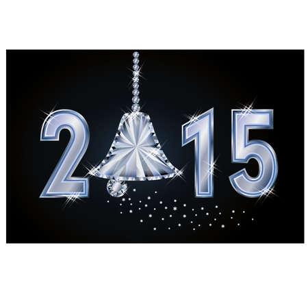 exuberance: Happy 2015 new year card with diamond xmas bell, illustration Illustration