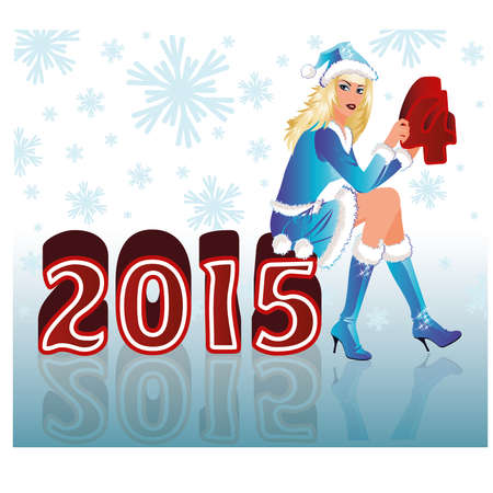 Happy New 2015 Year and Santa girl, vector illustration Vector