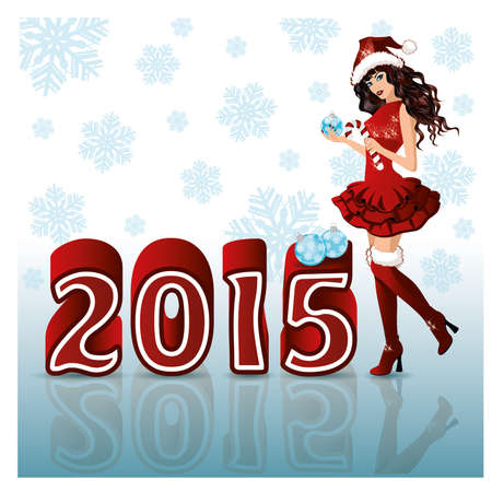 Happy New 2015 Year background with Santa girl, vector illustration Vector