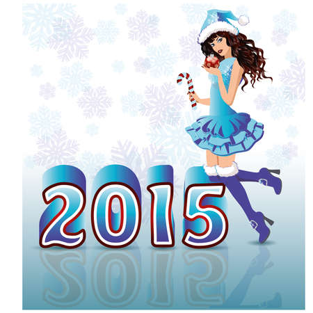 Happy New 2015 Year card with Santa girl, vector illustration Vector