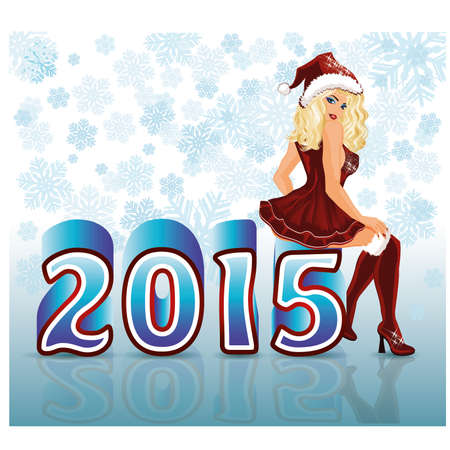 santa girl: Happy New 2015 Year santa girl