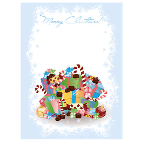 chocolate box: Merry Christmas invitation card with candy, vector illustration Illustration