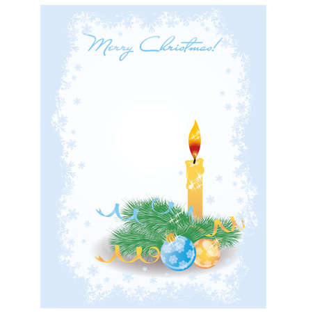 Merry Christmas invitation card with candle, vector Vector