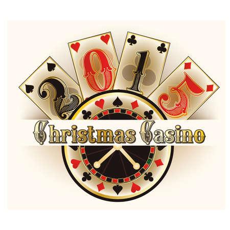 Christmas casino invitation card, vector illustration Vector