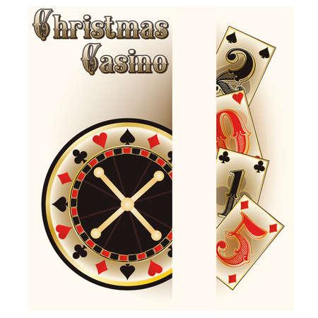 Christmas casino poker cards, vector illustration Vector