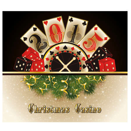 double the chances: Christmas casino happy new 2015 year cards, vector illustration