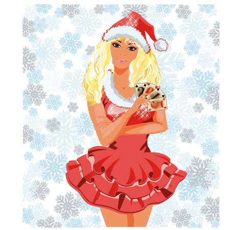 provocative: Beautiful Santa girl with poker cards, vector illustration