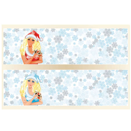 santa girl: Santa girl with poker cards banner, vector illustration Illustration