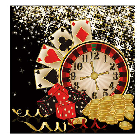 Merry Christmas Casino wallpaper, vector illustration Vector