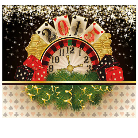 double the chances: Happy New 2015 year Casino invitation card , vector illustration Illustration