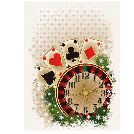 Merry Christmas Casino invitation card, vector illustration Vector