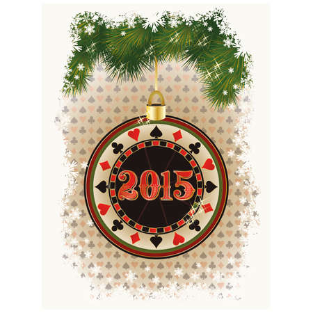 Happy 2015 new year card with casino poker chip, vector illustration Vector
