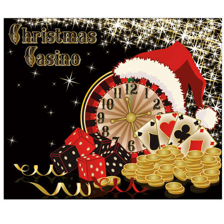 double the chances: Christmas casino background, vector illustration