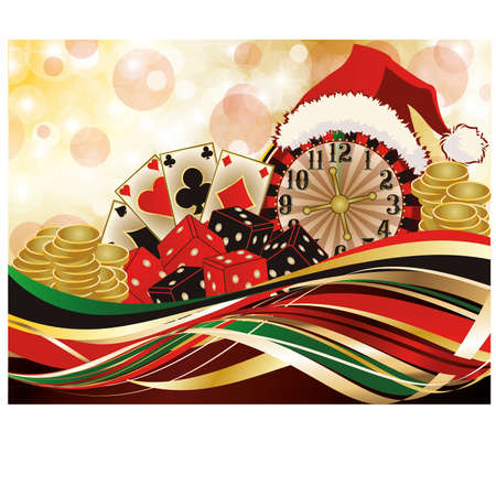 double the chances: Christmas casino greeting background, vector illustration