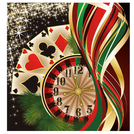 poker cards: Christmas casino banner with poker cards, vector illustration