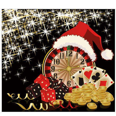double the chances: Christmas casino and happy new year card, vector