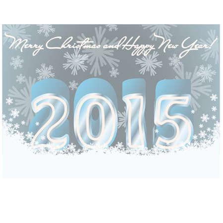 Happy new 2015 year invitation postcard, vector illustration