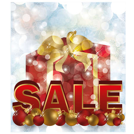 shop tender: Christmas sale card with new year box, vector illustration Illustration