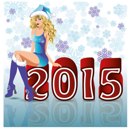 santa girl: Happy 2015 new year santa girl, vector illustration
