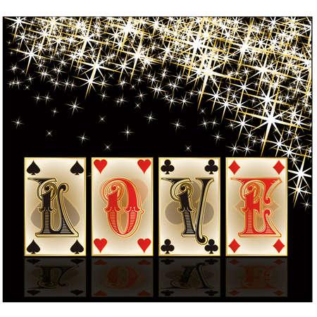 play card: Love poker casino cards, vector illustration